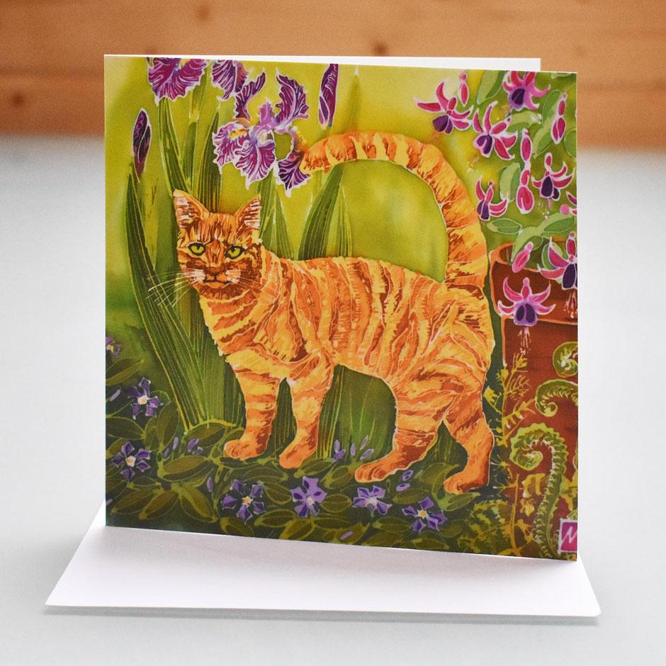 ginger cat art card