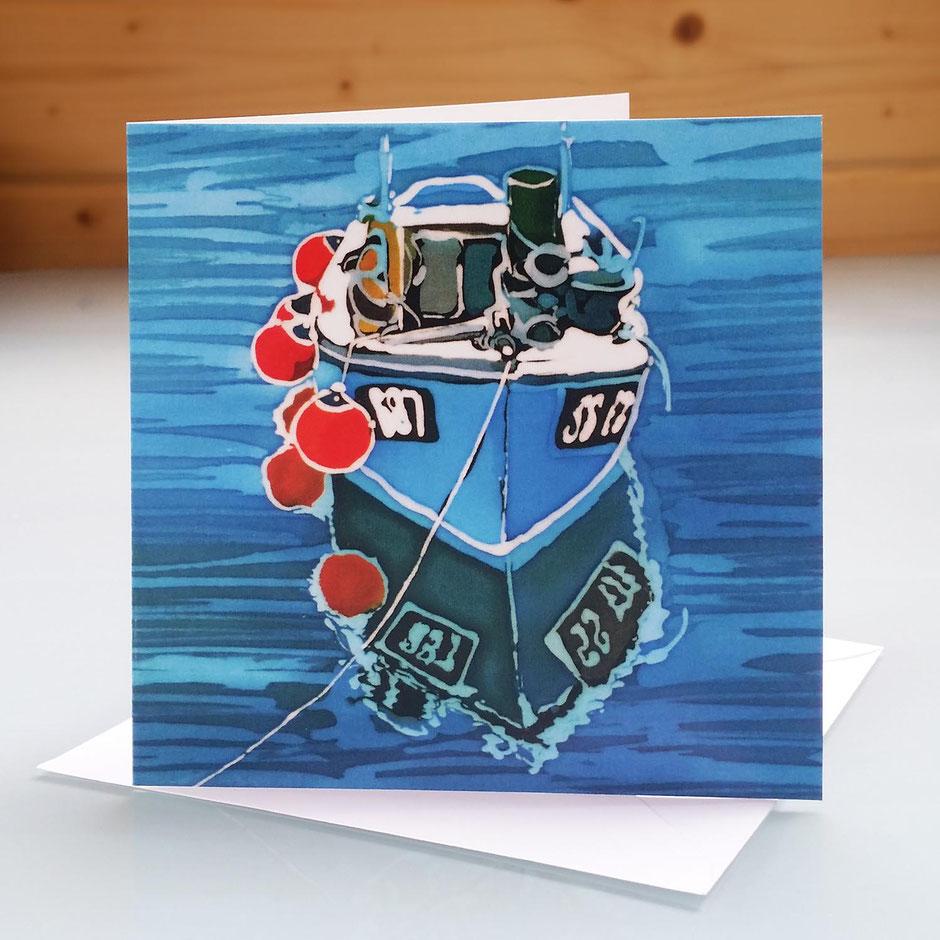 cornish tug boat art card