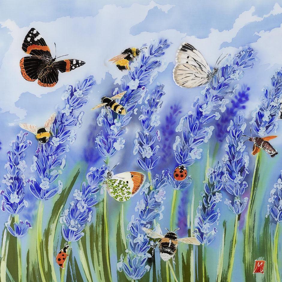 lavender meadow nature art butterfly bee