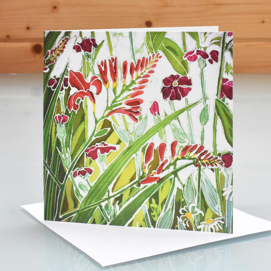 Flame Crocosmia art card blank inside greeting card