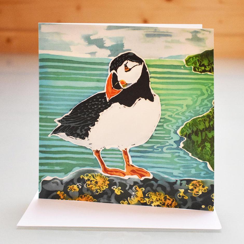 skomer puffin art card