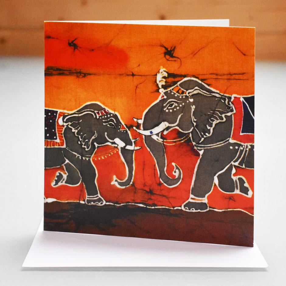 dancing elephants art card
