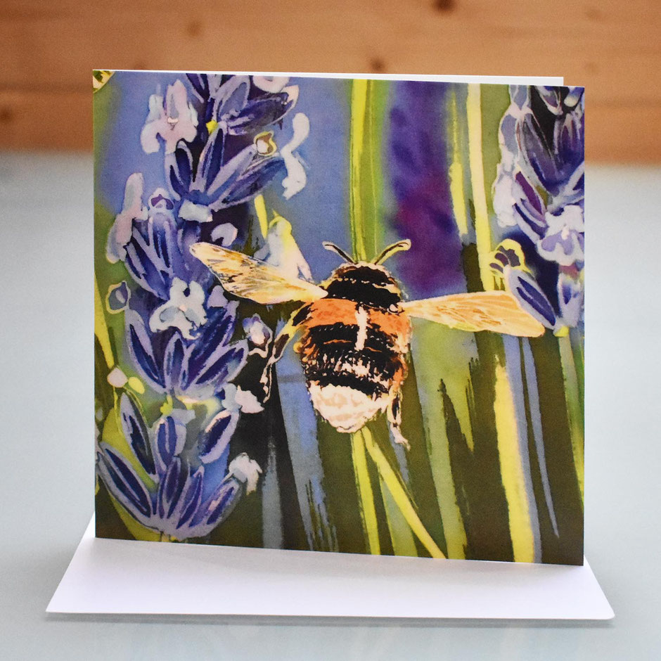 Lavender bee art card