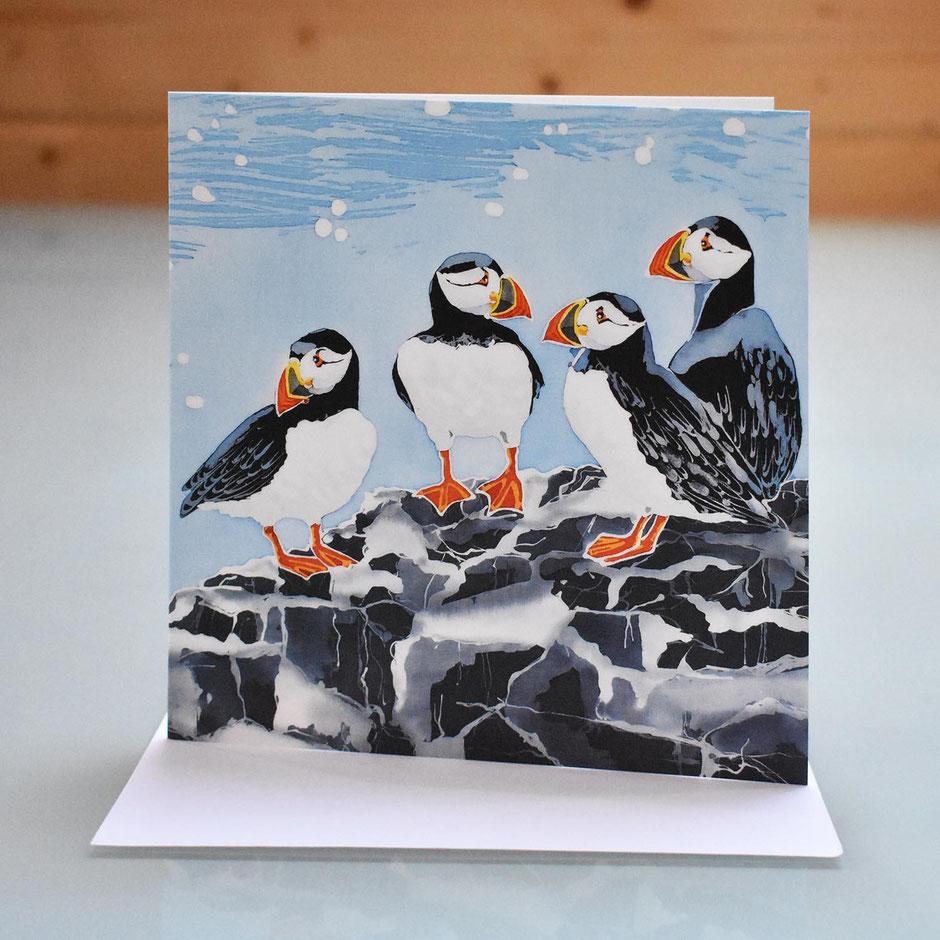 farne island puffins art card
