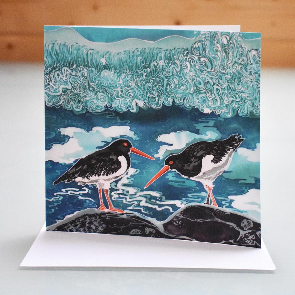 shell island oyster catchers art card