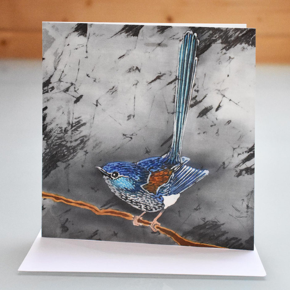 fairy wren blue wren art card