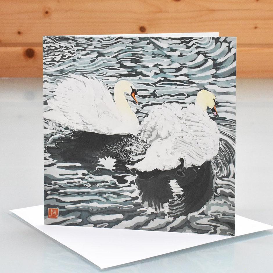 Mute Swans art card blank inside greeting card
