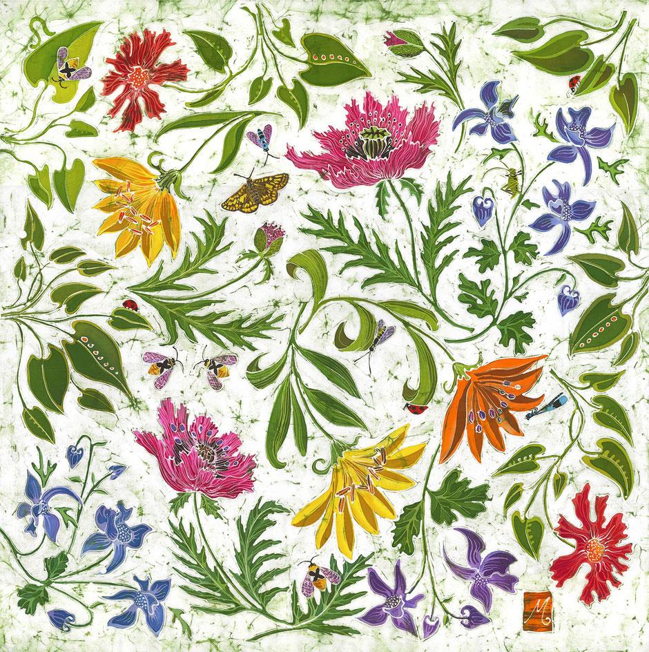 summer garden flowers botanical wall art print vibrant colours