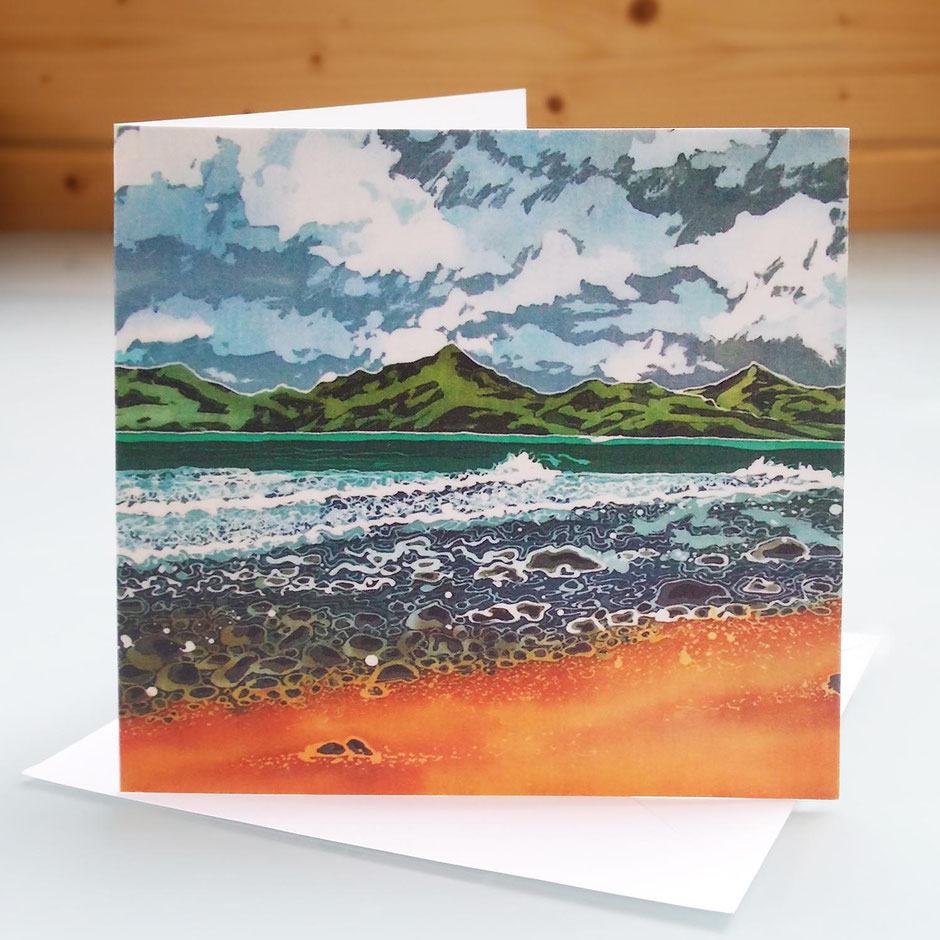 view from shell island seascape art card