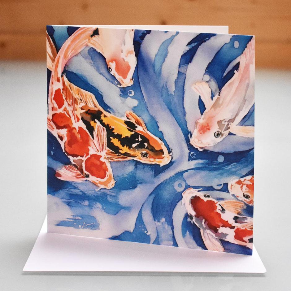 koi carp art card