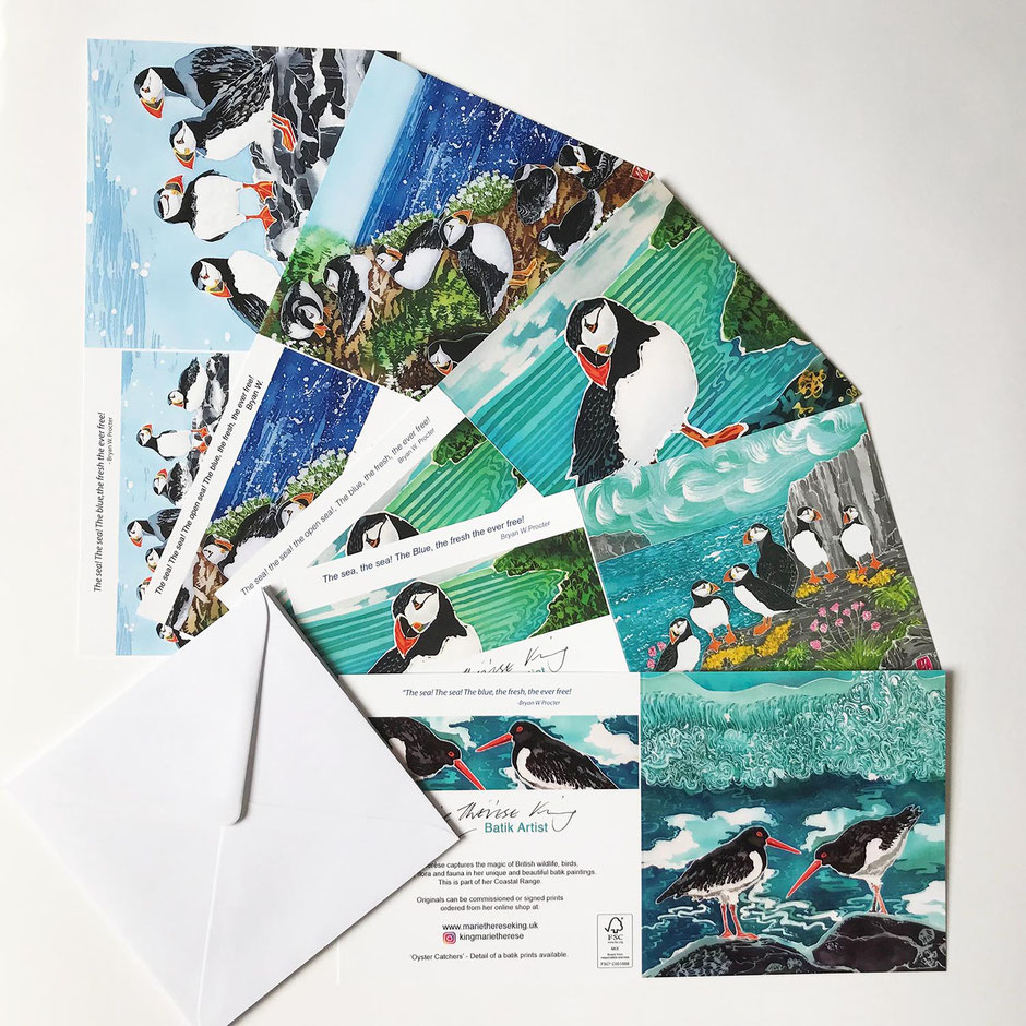 puffins art card greeting multipack