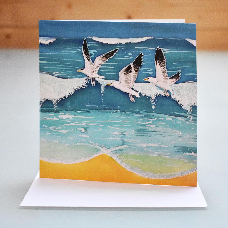 seascape seagulls art card