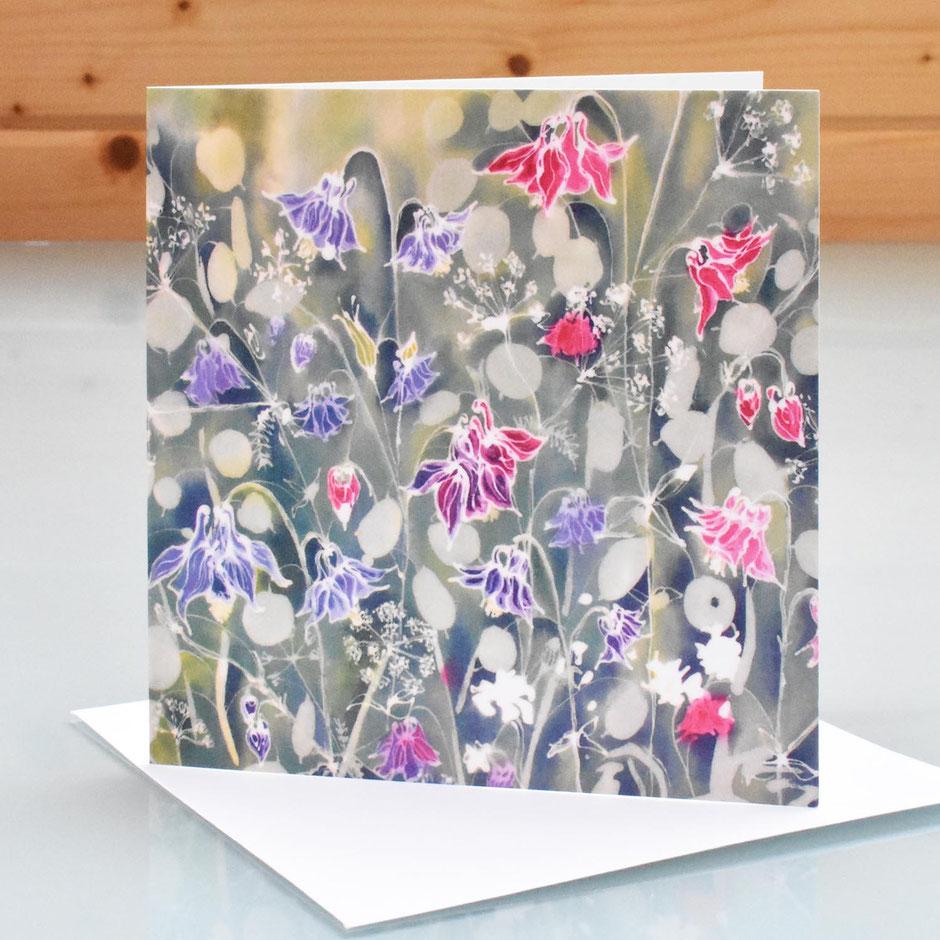 Aquielegia and Honesty Art Card blank inside greeting card
