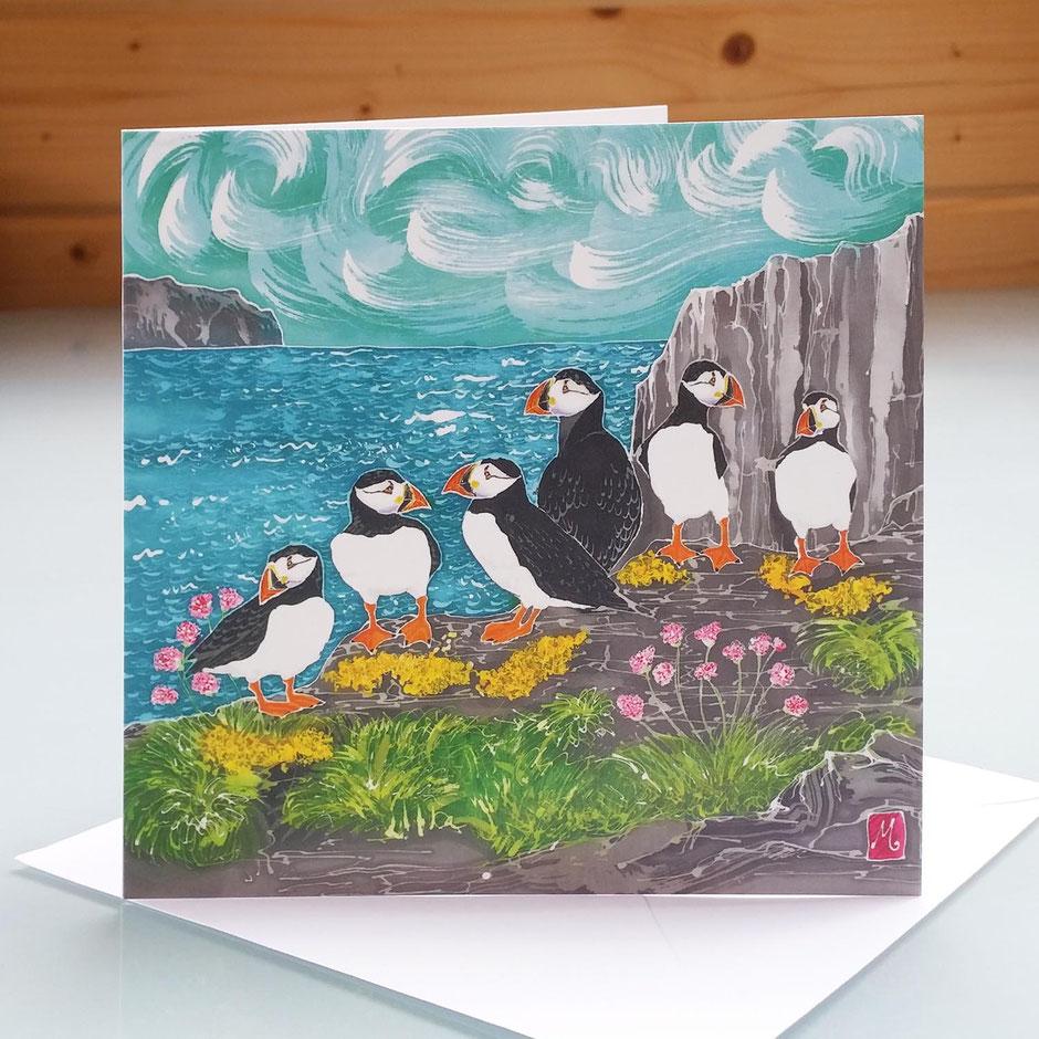 Skomer Island puffins art card
