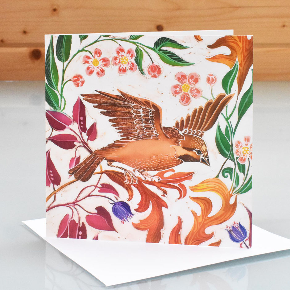 Birds In Paradise art card blank inside greeting card