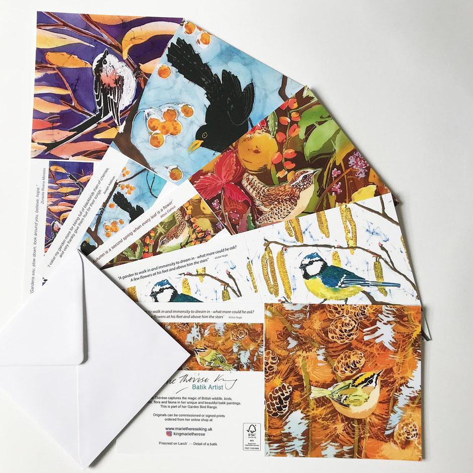 Favourite garden birds art card greeting multipack