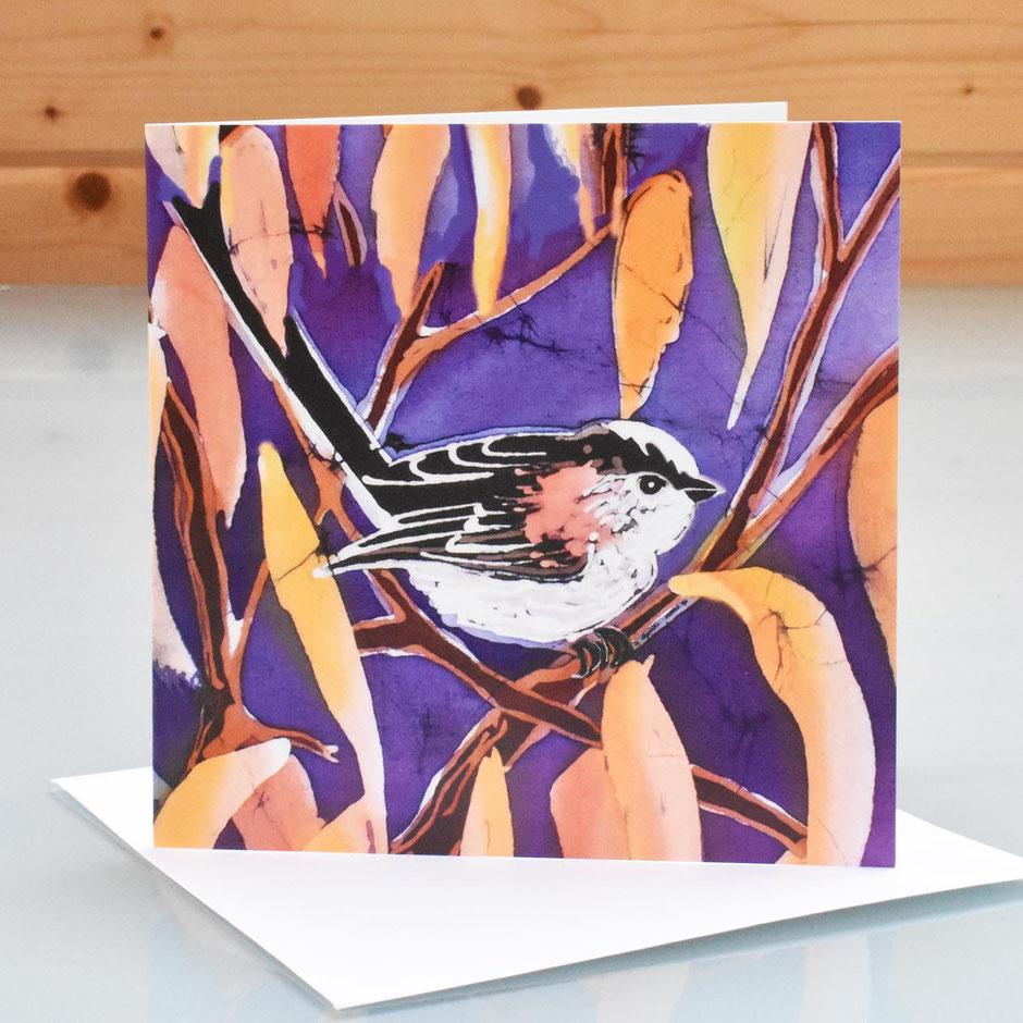 Long tailed tit art card blank inside greeting card