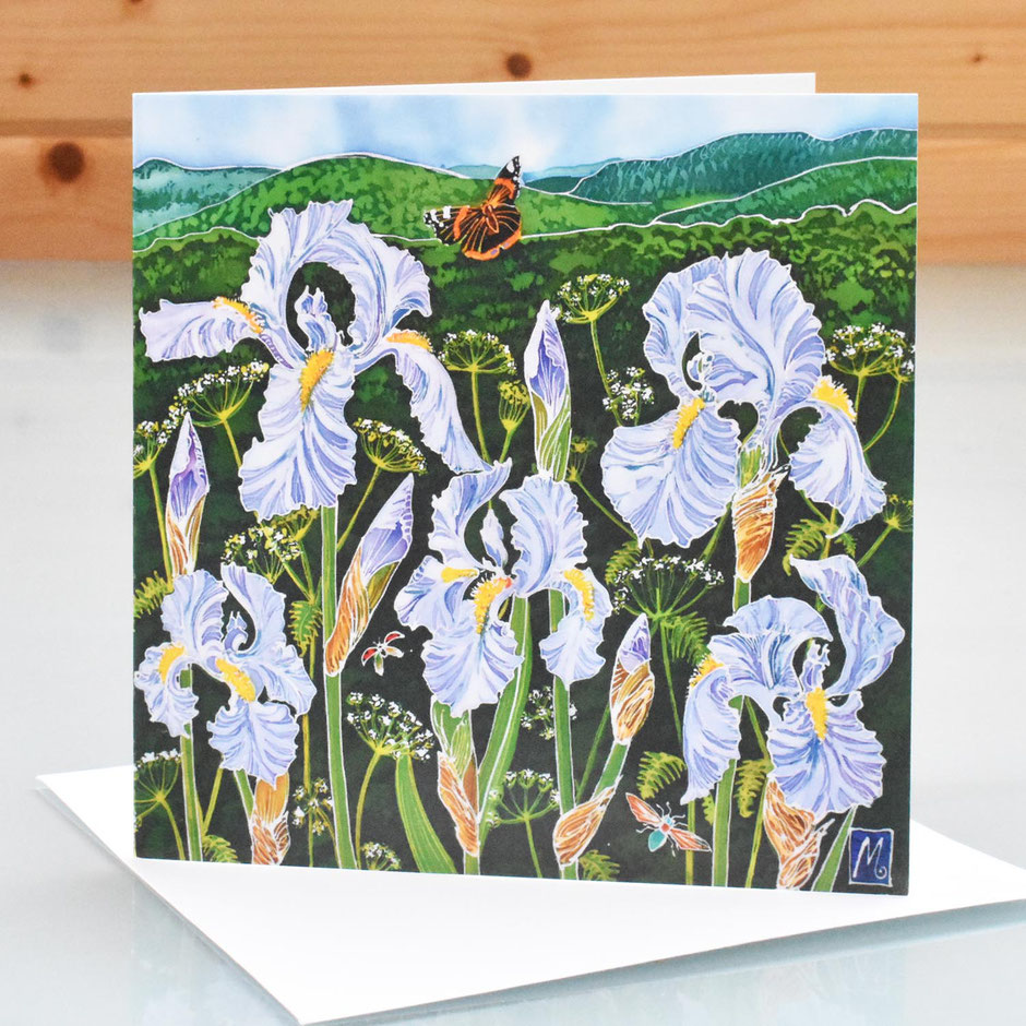 Blue Iris & Red Admiral Butterfly art card blank inside greeting card