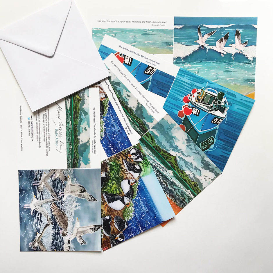 Coastal art card greeting multipack