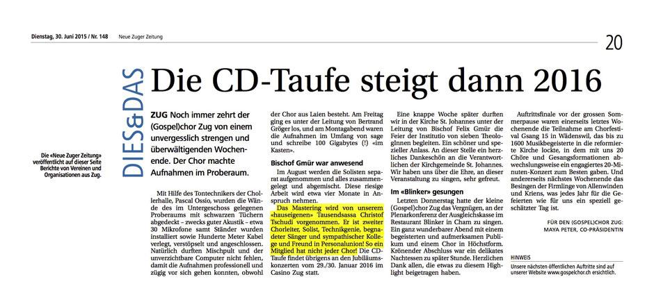 Neue Zuger Zeitung am 30.6.15