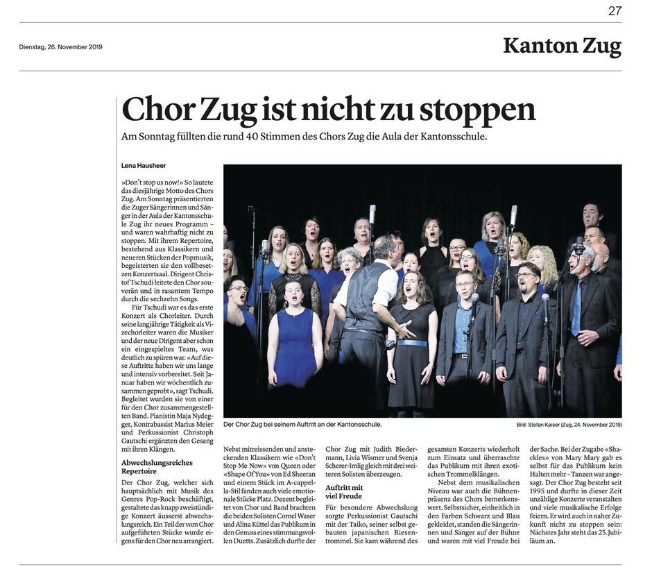 Zuger Zeitung, 26.11.2019, Lena Hausheer