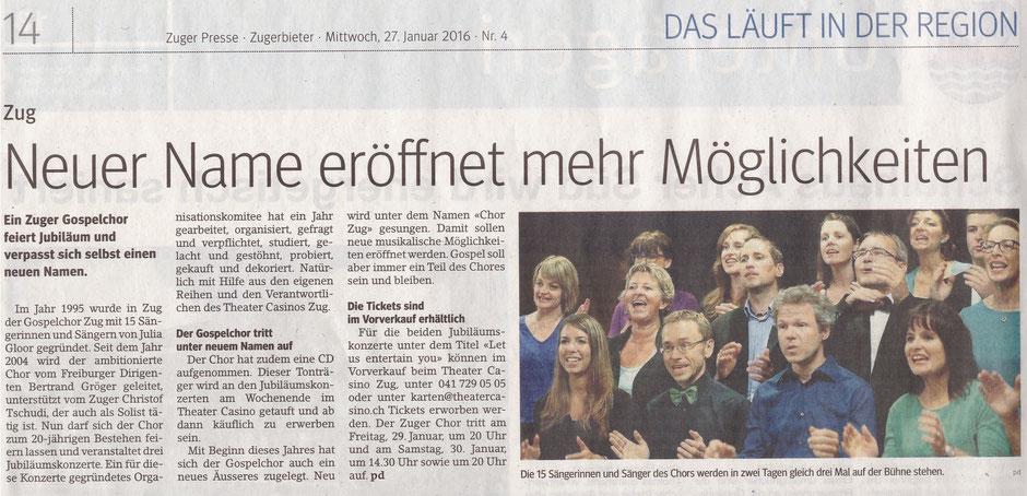 Zuger Presse am 27.1.2016