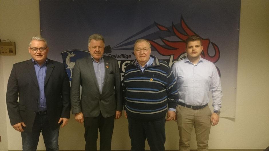 Von links: 1. Vorsitzender Frank Dittmar, Herbert Müller, Wolfgang Göbel und 2. Vorsitzender Fabian Baumann.