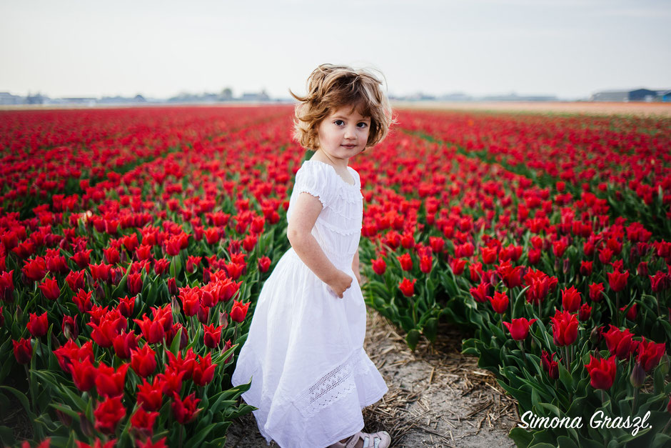 red tulips girl laughing Voorhout