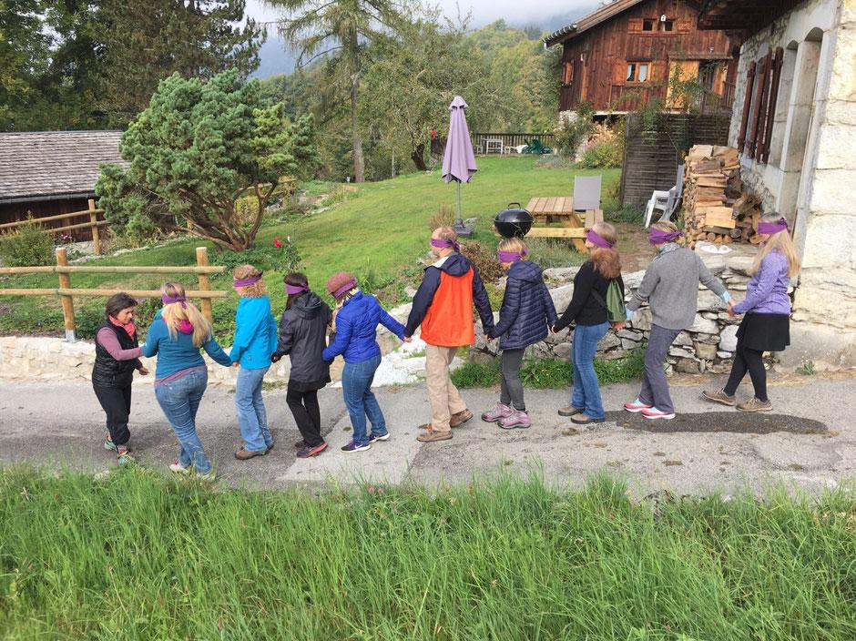 blindfold walk during alps to alaska france event 2018