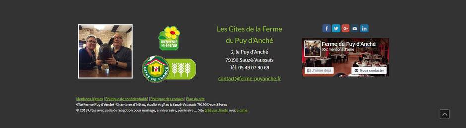bas du site des gîtes de la ferme du Puy d'Anché réalisé par e-cime.fr