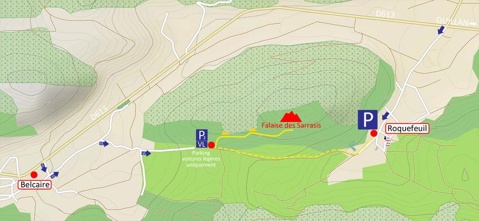 Accès au site d'escalade du Pic des Sarrasis