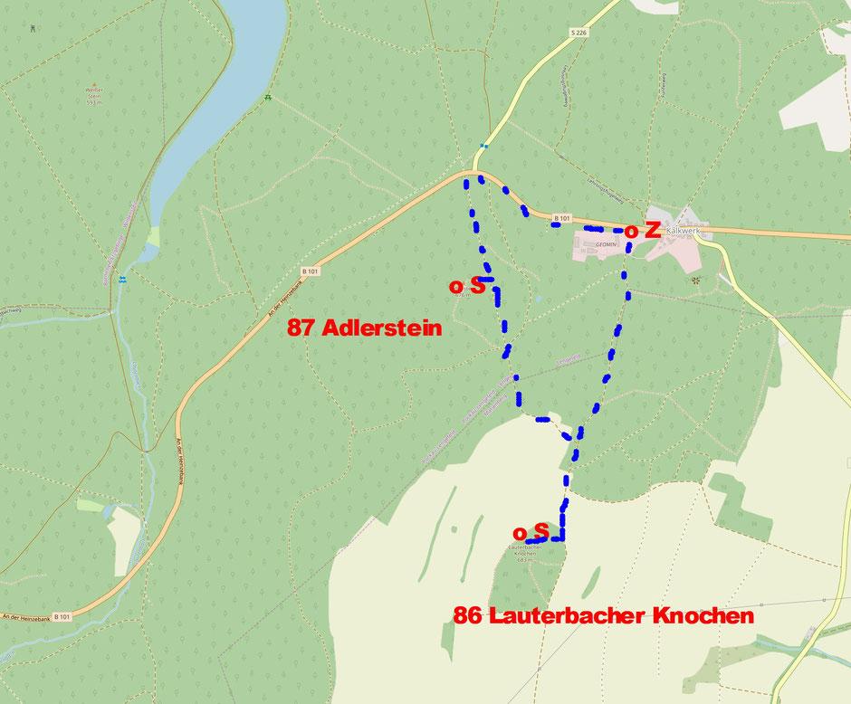 86 Lauterbacher Knochen und 87 Adlerstein