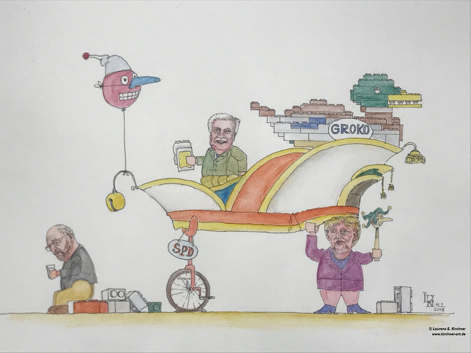 Karneval 2018 - Karikatur 34 x 46