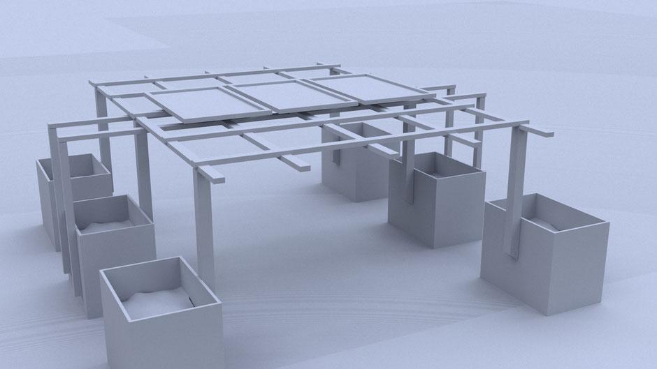 Modell der Photovoltaik-Anlage auf der Pergola (Quelle: Benoit Leleu)