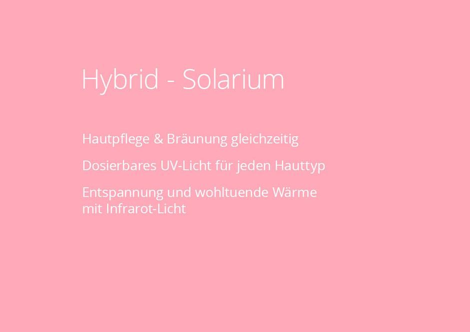 Im Fitnessstudio NOW-FIT in Raubling bei Rosenheim, Salzburg, Kufstein und Kiefersfelden. Hybrid-Solarium, Hautpflege & Bräunung gleichzeitig Dosierbares UV-Licht für jeden Hauttyp Entspannung und wohltuende Wärme  mit Infrarot-Licht