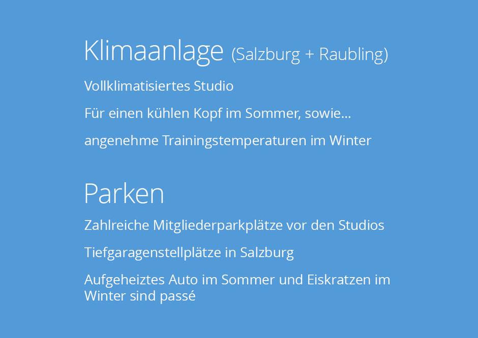 Im Fitnessstudio NOW-FIT in Raubling bei Rosenheim, Salzburg, Kufstein und Kiefersfelden. Vollklimatisiertes Studio, Zahlreiche Mitgliederparkplätze vor den Studios Tiefgaragenstellplätze in Salzburg