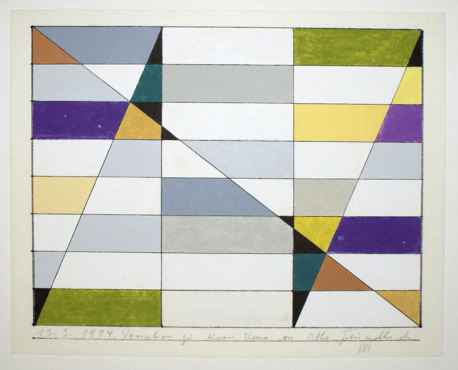 13.3.1994, Variationen zu einem Thema von Otto Freundlich, 1994, Ölkreide, farbig, 23,5 x 30 cm