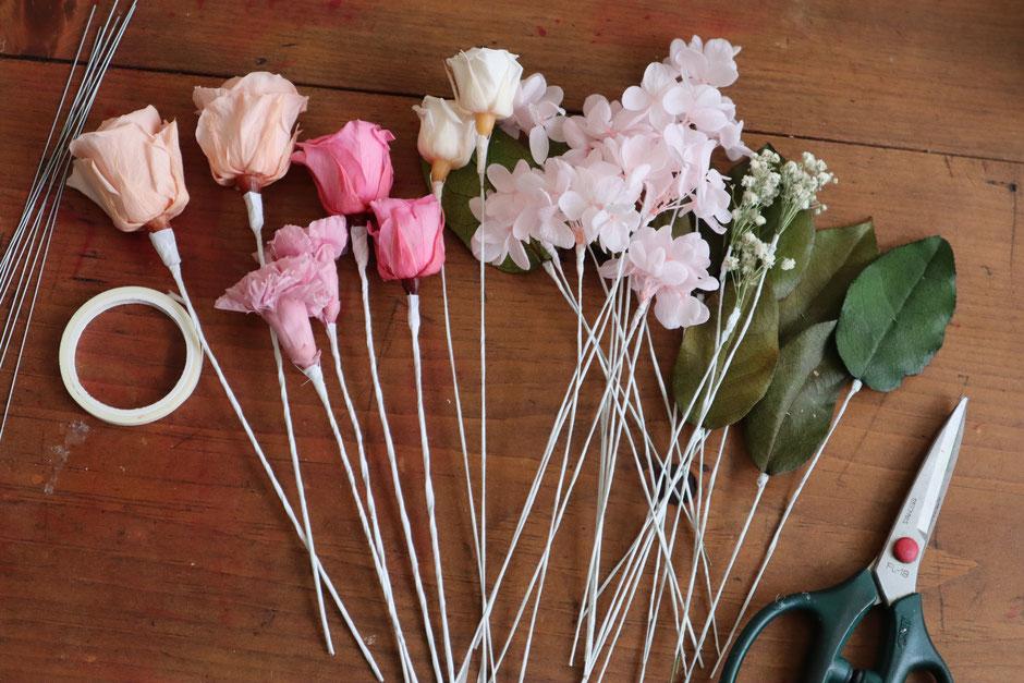プリザーブドフラワーの花束ができるまで GREEN'S TALE