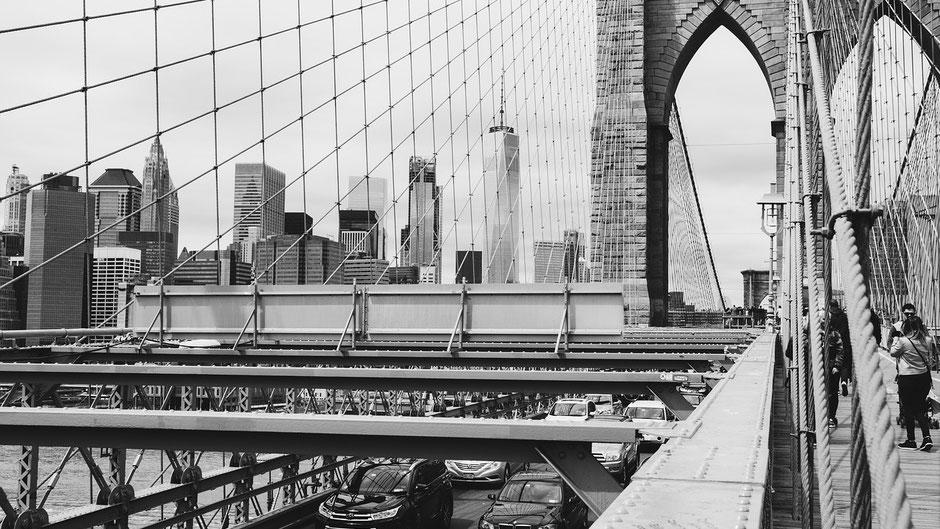 New York Reisebericht Blick von der Brooklyn Bridge auf Manhattan