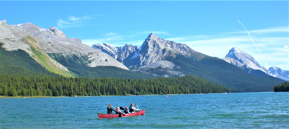 Rocky Mountains Kanada Tour auf dem Lake Maligne
