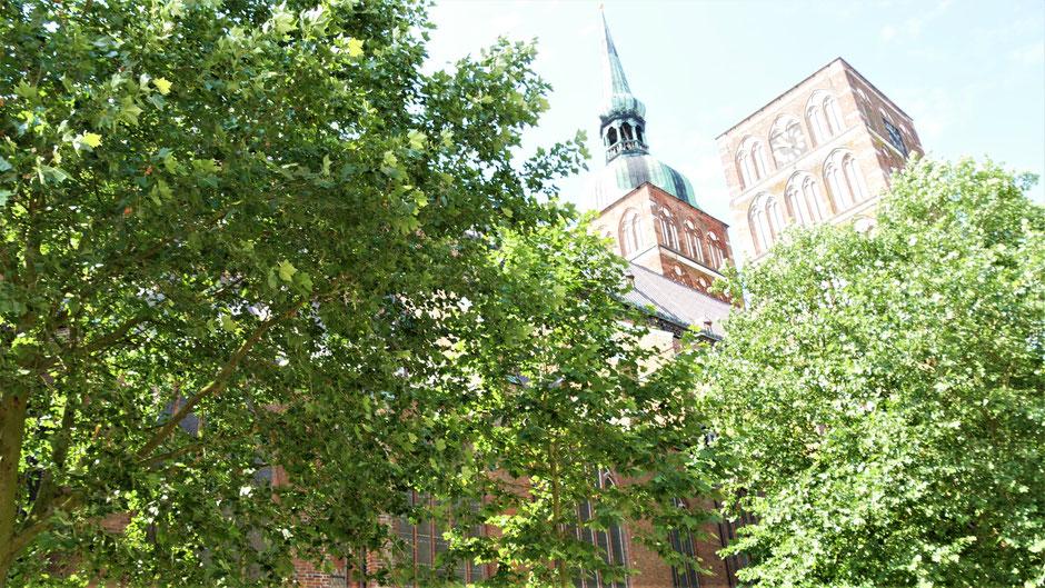 Stralsund Urlaub Tipps: Die Nikolaikirche - versteckt zwischen Häusern und Bäumen