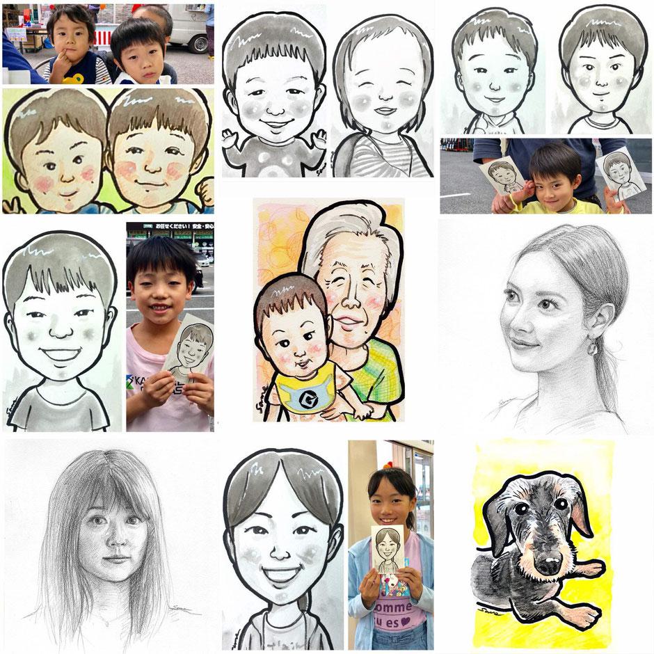 お子さんからおじいちゃん、おばあちゃん、ペットの似顔絵、イラストタッチからデッサンタッチまでの手描き似顔絵