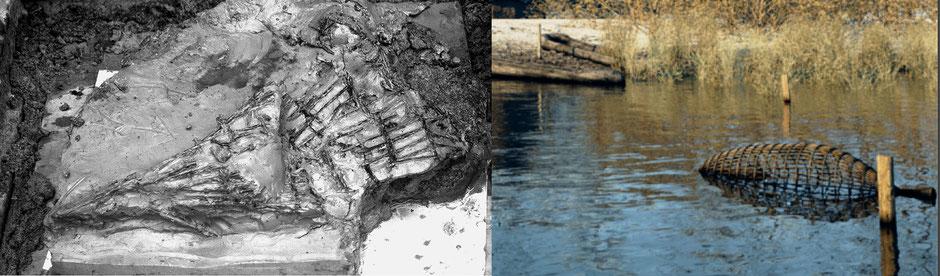 Een veldopname van de aangetroffen visfuik bij Hardinxveld-Giessendam en daarnaast de reconstructie door Archeo3D (Louwe Kooijmans, 2001).