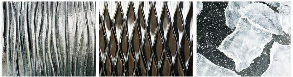 Guss Ornamentglas mit Farben und Strukturen, so individuell wie das Leben.