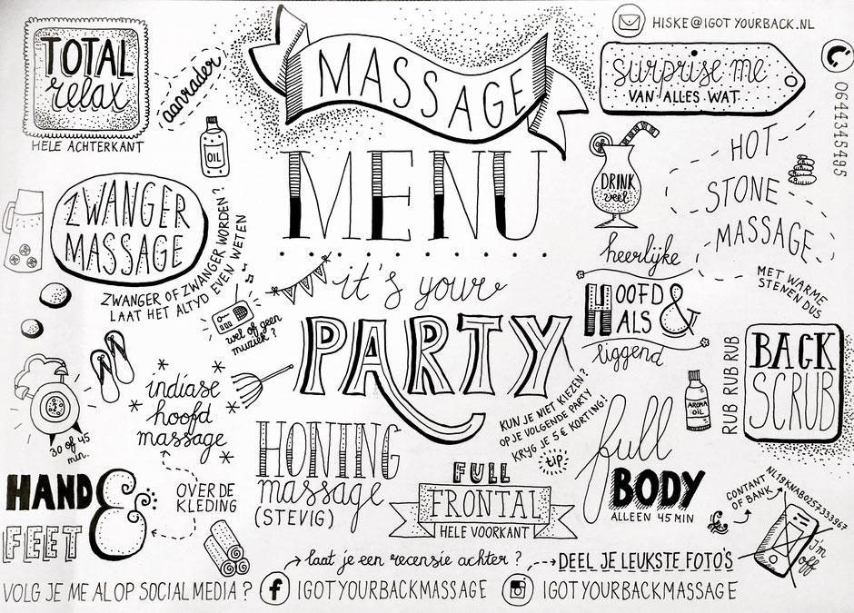Massage Menu tijdens de Massage Party
