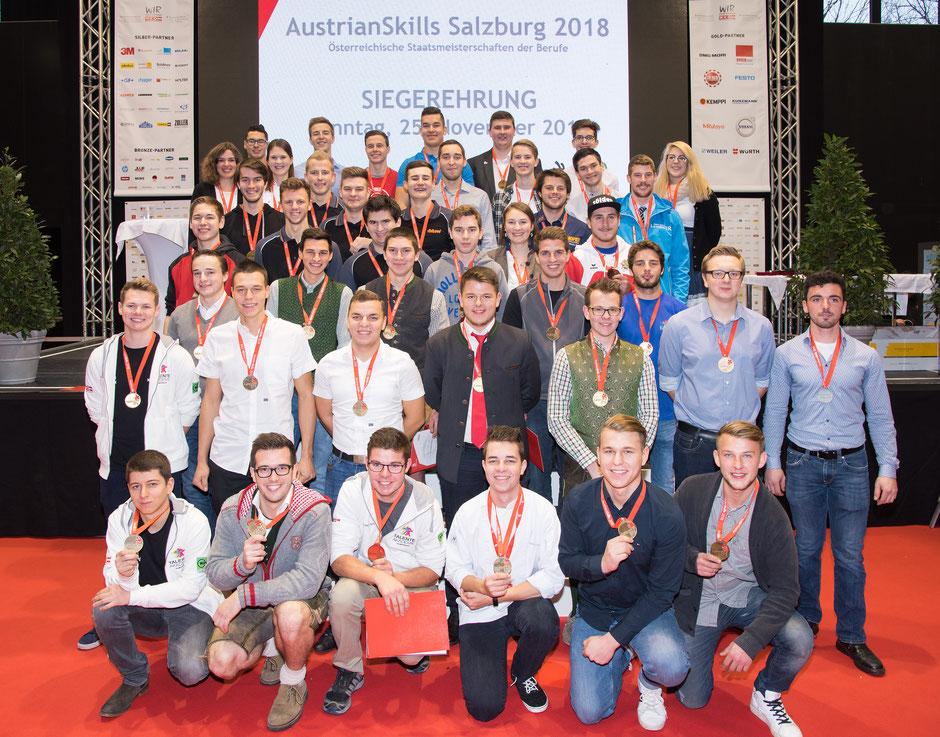 Die Goldmedaillengewinner bei den diesjährigen AustrianSkills. Foto © WKÖ/SkillsAustria