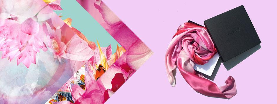 Kirschblüten ein Meer aus Rot und Weiß. Seidentuch Cherry Blossom Fantasy. Erleben Sie die Faszination. Apricot, Rosé, Indigo. Geschenk, Exklusiv, Geschenkidee. Seidentücer, Accessoires und Fashion von Pattern of Earth Berlin.