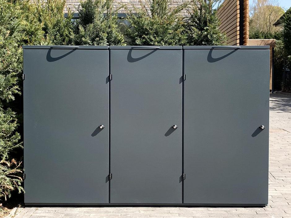 Mülltonnenbox aus Edelstahl mit gepulverter Oberfläche RAL 7016 Feinstruktur