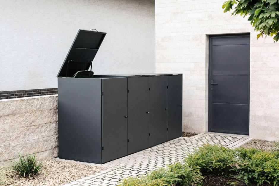 4er Mülltonnenbox aus Edelstahl mit gepulverter Oberfläche RAL 7016 Feinstruktur