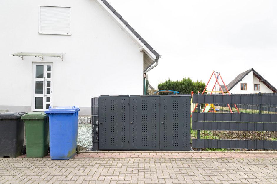 Mülltonnenbox in einer Kombination aus dem Modell OSLO und NIWA